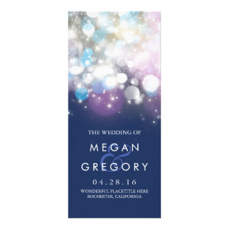 String Lights Navy Wedding Programs Custom Rack Card