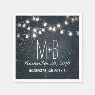 String Lights Night Stars Wedding Disposable Serviettes