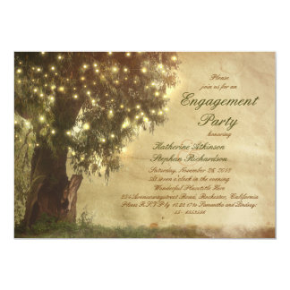 """String lights old tree rustic engagement party 5"""" x 7"""" invitation card"""