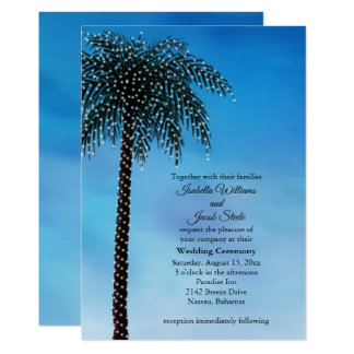String Lights Palm Tree Wedding Invite Watercolor
