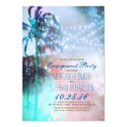 string lights palm trees beach engagement party card