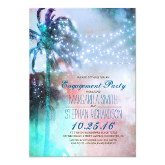 "string lights palm trees beach engagement party 5"" x 7"" invitation card"