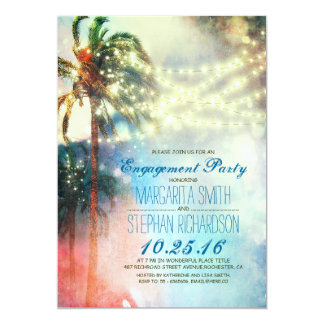string lights palm trees beach engagement party custom announcements