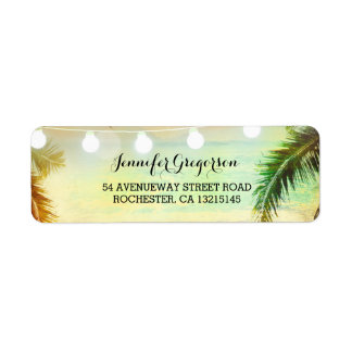 String Lights Palms Beach Sunset Return Wedding Return Address Label