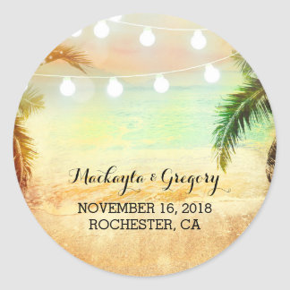 String Lights Palms Beach Sunset Wedding Stickers