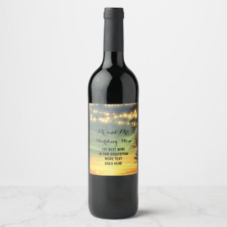 String Lights Palms Beach Wedding Wine Label