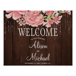 String lights peonies blush wedding welcome sign