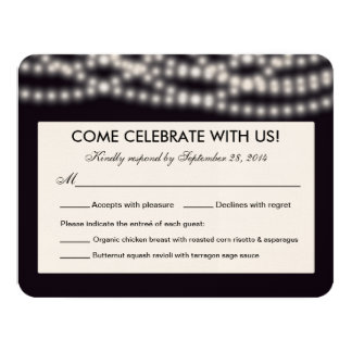 String Lights Reply Card - Rounded Corners