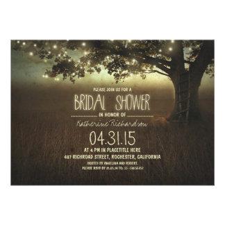 string lights rustic bridal shower invitation