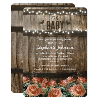String Lights | Rustic Country Barrel Baby Shower Card
