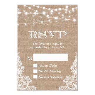 String Lights Rustic Country Burlap Lace RSVP 9 Cm X 13 Cm Invitation Card