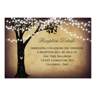 String Lights Rustic Tree Wedding Reception Card