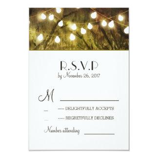 String Lights Rustic Trees Wedding RSVP Cards 9 Cm X 13 Cm Invitation Card