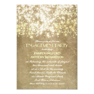 string lights rustic vintage engagement party 13 cm x 18 cm invitation card