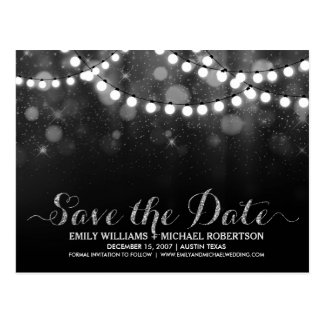 String lights silver bokeh save the date postcard
