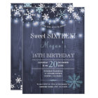 String lights snowflakes chic winter sweet sixteen card