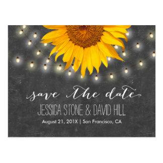 String Lights & Sunflower Wedding Save the Date Postcard