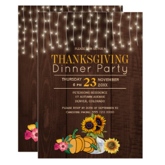 String lights sunflowers rustic thanksgiving party card