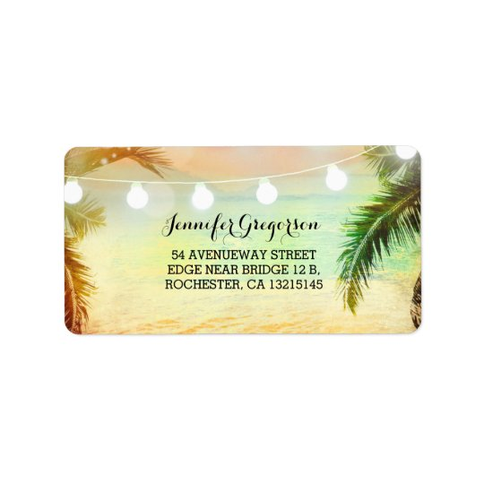 String Lights Sunset Beach Wedding Address Label