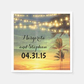 String Lights Sunset Beach Wedding Paper Serviettes