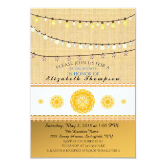 String Lights Textured Wall Golden Doilies Card