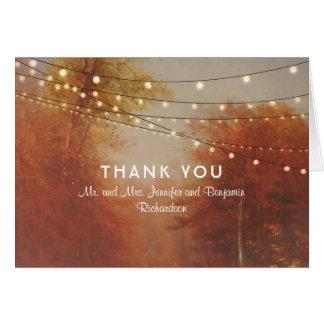 String Lights Tree Fall Wedding Thank You Card