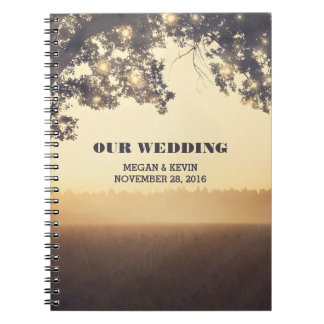 String Lights Tree Rustic Evening Wedding Notebook