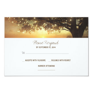 string lights tree rustic wedding RSVP card