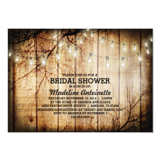 String Lights Tree Vintage Barn Wood Bridal Shower Card