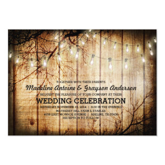 String Lights Tree Vintage Barn Wood Wedding Card