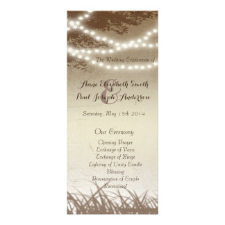 String lights trees wedding program personalised rack card