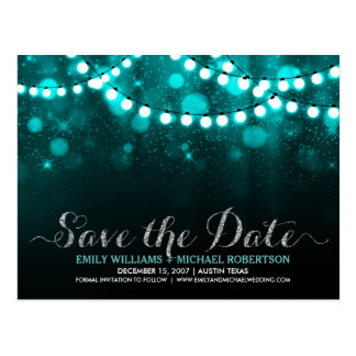 String lights turquoise bokeh save the date postcard
