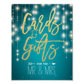String Lights Turquoise Cards & Gifts Wedding Sign Poster