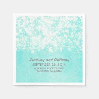 string lights vintage blue wedding disposable serviettes