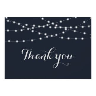 String lights wedding thank you card