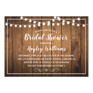 String Lights Wood Rustic Country Bridal Shower Card