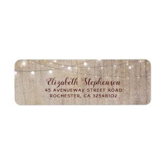 String Lights Wood Rustic Wedding Return Address Label
