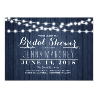 String of Glowing Lights Blue Back Bridal Shower 13 Cm X 18 Cm Invitation Card