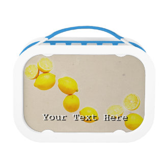 String of Lemons On Vintage Background Lunchboxes