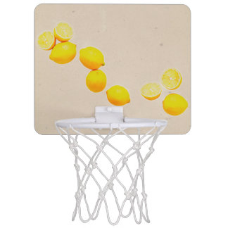 String of Lemons On Vintage Background Mini Basketball Hoop