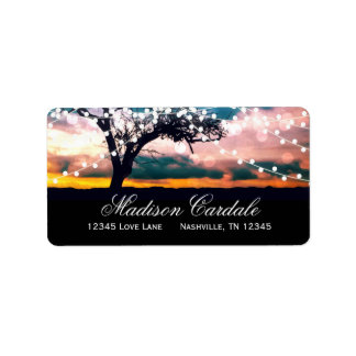String of Lights at Sunset Return Address Labels
