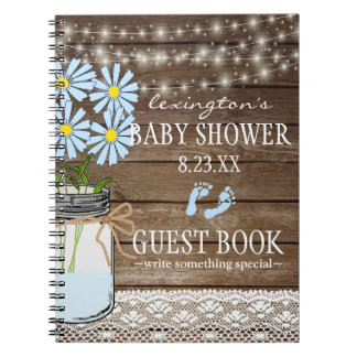 String Of Lights Blue Baby Shower Guestbook | Notebook