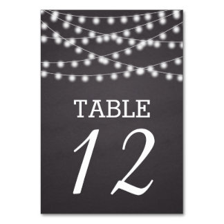 String of lights & chalkboard wedding table number table cards