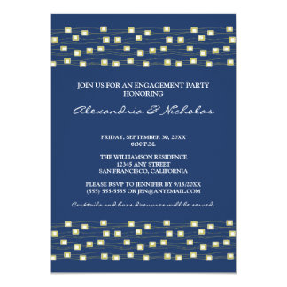 String of Lights Engagement Party Invite (navy)