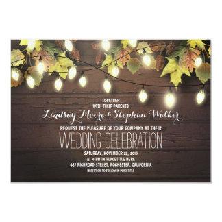 string of lights fall wedding invitation