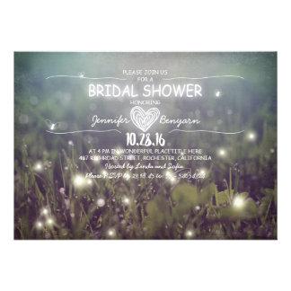 string of lights fireflies rustic bridal shower custom invitations