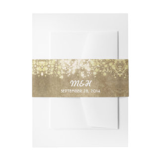 string of lights - glitter vintage wedding band invitation belly band