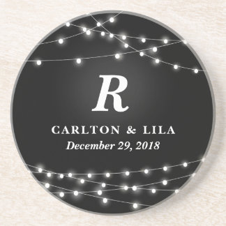 String of Lights Monogram Personalized Wedding Day Beverage Coasters