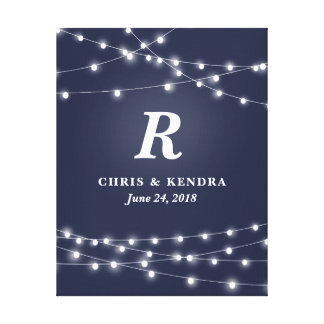String of Lights Monogram Personalized Wedding Day Canvas Print