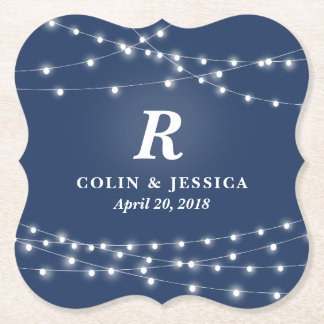 String of Lights Monogram Personalized Wedding Day Paper Coaster